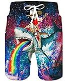 TUONROAD Bañadores para Hombre Impresión Gato Tiburón Traje de Baño Multi Colorido Bañador de Natación Pantalones Cortos Secado Rápido Swim Shorts Ligero Baño Playa Shorts con Forro de Malla - M