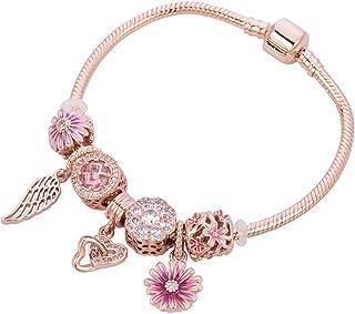 Chili Jewelry Women Girls Rose Gold Flower Charms Bracelet Snake Chain Clip Lock Bracelets for Mom Sister