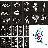 Xmasir 22 Feuille Kit De Pochoirs De Tatouage Au Henné pour Femmes Enfants Paillettes Pochoir De Tatouage Pour La Peinture Aérographe Dessin Modèles Corps Du Faux Tatouages