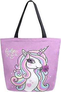 Mnsruu Mnsruu Einkaufstasche aus Segeltuch, wiederverwendbar, Schulter-/Handtasche, Regenbogen-Einhorn mit Rose, Reisetasche, für Damen und Mädchen