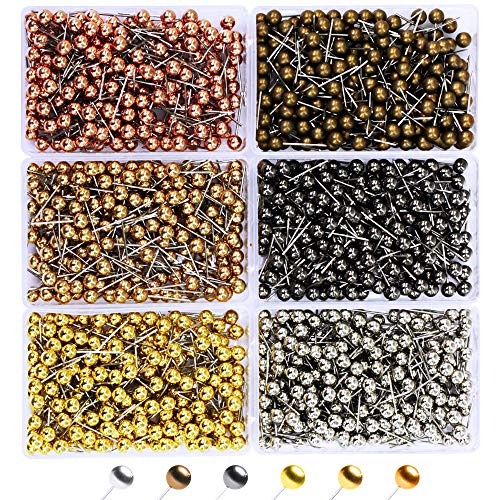 1200 Pieces Map Tacks 1/8-Inch Retro Metallic Color Beads Head Marking Push Pins, in Reconfigurable Container for Bulletin Board, Fabric Marking, Map Pins (1200-Count Metallic Color)