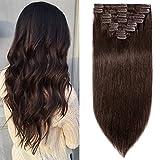 Extensions Echthaar Clip in 8 Tressen 18 Clips Normal Günstig Glatt Haarteil Weich Haarverlängerung 100% Human Hair 33cm-80g 02# Dunkelbraun