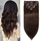 20cm Extensiones de Cabello Humano Clip in Hair Extension 8 Piezas 18 Clips Pelo Natural Remy -65g 2# Marrón Oscuro