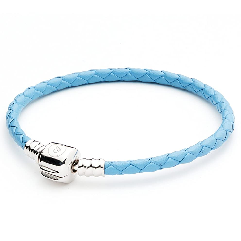 ATHENAIE Light Blue Single Braided Leather 925 Sterling Silver Charm Bracelet Fits Fit All European Charm Bead