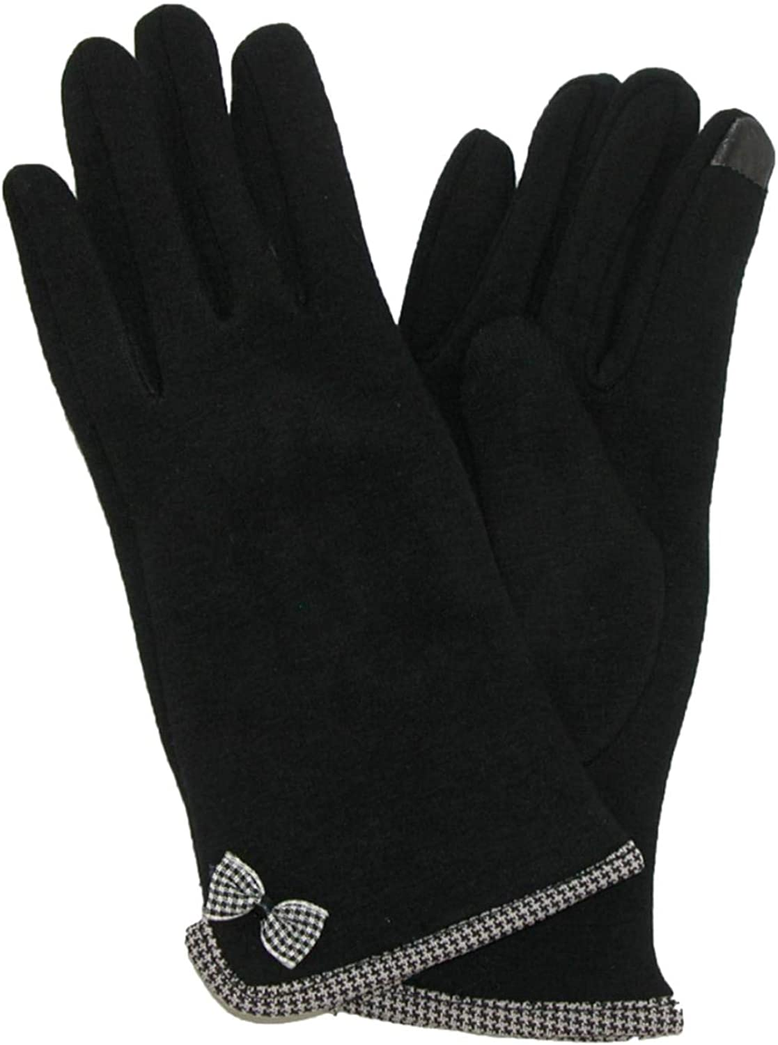 Womens Black & Houndstooth Bow Stretch Fit Texting & Tech Touchscreen Gloves