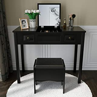 Vanity Set with Flip Top Mirror Study Writing Desk Makeup Dressing Table with 2 Drawers Cushioning Storage Stool Set, 3 Removable Organizers Easy Assembly in Black