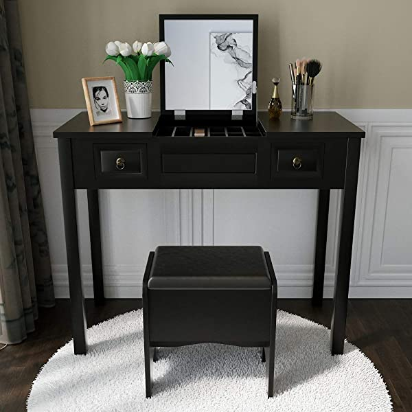 Vanity Set With Flip Top Mirror Study Writing Desk Makeup Dressing Table With 2 Drawers Cushioning Storage Stool Set 3 Removable Organizers Easy Assembly In Black