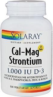 Calcium Magnesium Strontium with Vitamin D3, K2, Zine Boron (120 Vegetarian Capsules)