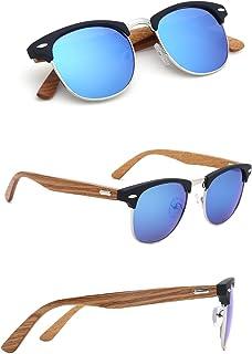 5c9ab0f141 TIJN Wood Semi-Rimless Sunglasses Horn Rimmed Bamboo Frame for Men Women