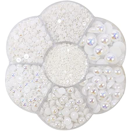 500 Pieces Half Round Flatback Pearl Scapbooking Embellishment for Nair Art Crafts Decoration 8mm White