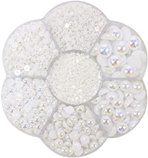 Approx 5600pcs Mixed Size DIY Half Pearl Bead Flat Back Plastic Craft Plastic Box (AB White)