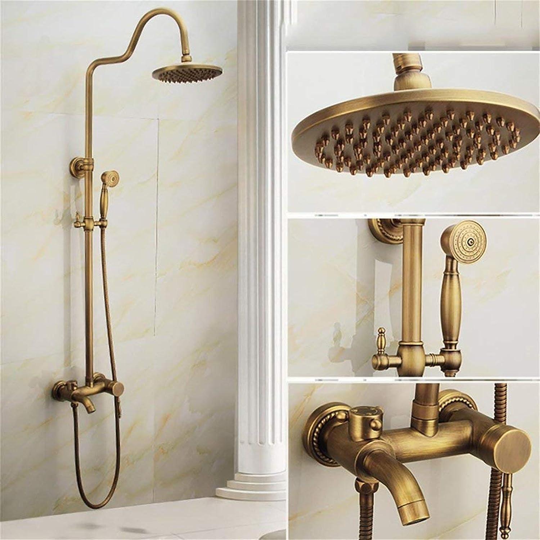 Willsego All-Kupfer Antique Shower Set Europischen Bad Warm und Kalt Wasserhahn Badezimmer Aufzug Dusche Retro Badezimmer Dusche Doppelgriff Dual Control. mit Handbrause (Farbe   B)