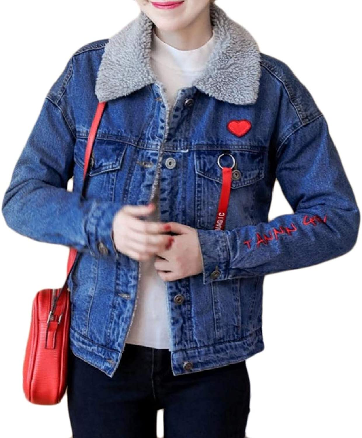 color&W Women's Fitted Pocket Denim Button Thick Velvet Embroidered Coat Jacket