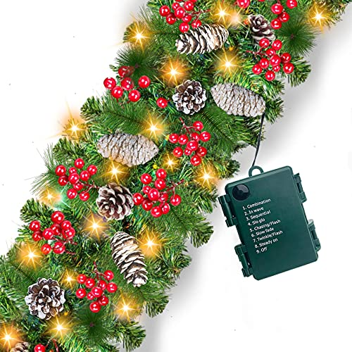 Camlinbo Prelit Christmas Garland Decoration 100 LED Lights Timer 8 Modes,9 Ft by 10 Inch Battery Operated Lighted Christmas Garland 18 Pine Cones 198 Red Berries Xmas Decor Indoor Outdoor Home Mantel