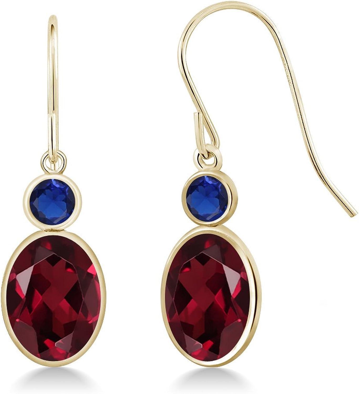 2.96 Ct Red Rhodolite Garnet bluee Simulated Sapphire 14K Yellow gold Earrings