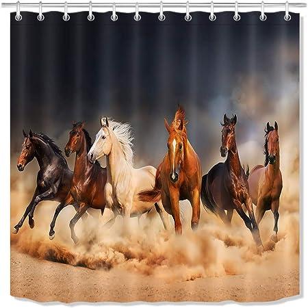 Horse Print Fabric Bathroom Shower Curtain Liner-waterproof-180*180cm-12 hooks