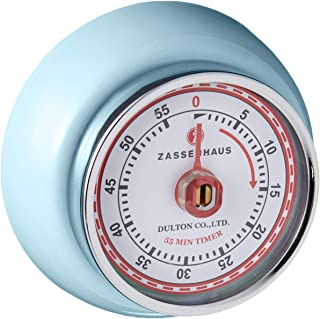 "Zassenhaus 60-Minute Magnetic Steel ""Retro"" Kitchen Timer, Light Blue"