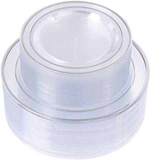 Silver Plastic Plates 96 Pieces, Clear Disposable Plates for Party and Wedding,Includes 48 Dinner Plates 10.25