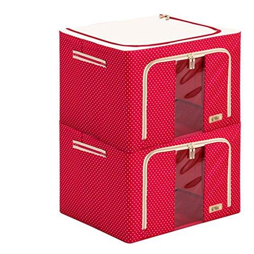 Xuan - worth another Rouge point blanc 2 pièces Oxford boîte de rangement en tissu stockage de courtepointe jouet boîte ensemble le cadre de finition en acier renforcé support de cadre (50 * 40 * 33cm
