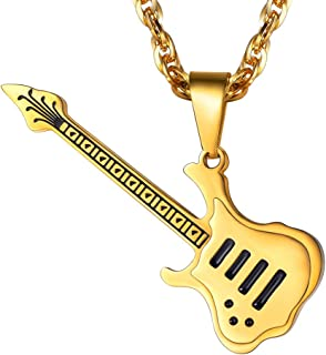Guitar Necklace in Stainless Steel, Guitar Player Gift, Guitar Jewelry, Gifts for Musicians, Guitar Charm, Music Lover Gift, Music Necklace