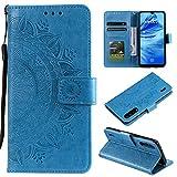 CoverKingz Handyhülle für Xiaomi Mi A3 - Handytasche mit Kartenfach Mi A3 Cover - Handy Hülle klappbar Motiv Mandala Blau