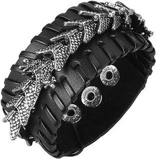 Genuine Leather Cuff Bracelet Punk Braided Bracelets Rock Leather Wristbands Adjustable Belt Wrap Bracelet Handmade Jewelry for Men, Women