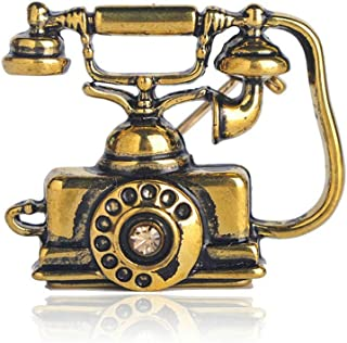 Reminiscent Vintage Telephone Landline Phone Brooch Mother Father Precious Gifts Souvenir Rose Gold Color Enamel Jewelry