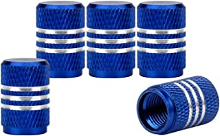 Senzeal 5x Aluminum Car Tire Valve Stem Caps Round Style Air Covers Blue