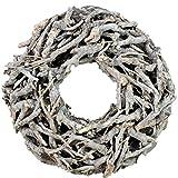 Bada Bing XL Weidenkranz Holz Kranz Geäst Naturprodukt aus Zweigen Ø Ca. 50 cm Weiss Grau Landhaus Stil Deko Tischdeko Wanddeko Adventskranz Türkranz Weihnachten Deko 31