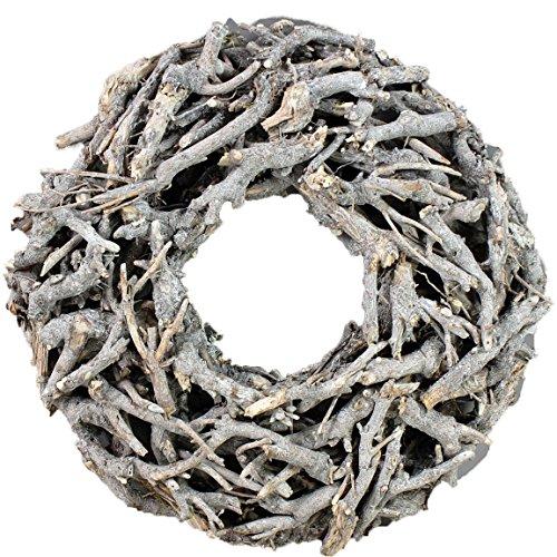 Bada Bing XL Weidenkranz Holz Kranz Geäst Aus Zweigen Ø Ca. 50 cm Weiss Grau Landhaus Stil Deko Tischdeko Wanddeko Adventskranz Advent Türkranz Weihnachten Deko 31