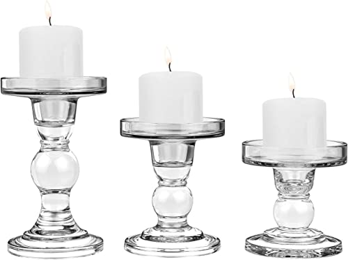 Transparent Clear Glass Candle Holder Crystal for Romantic Wedding Birthday Candlelight Dinner