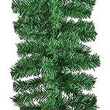 Juskys Weihnachtsgirlande künstlich mit LED Lichterkette | 5m | 100 Lichter warmweiß | IP44 Innen | grün | Weihnachten Girlande Weihnachtsdeko - 7