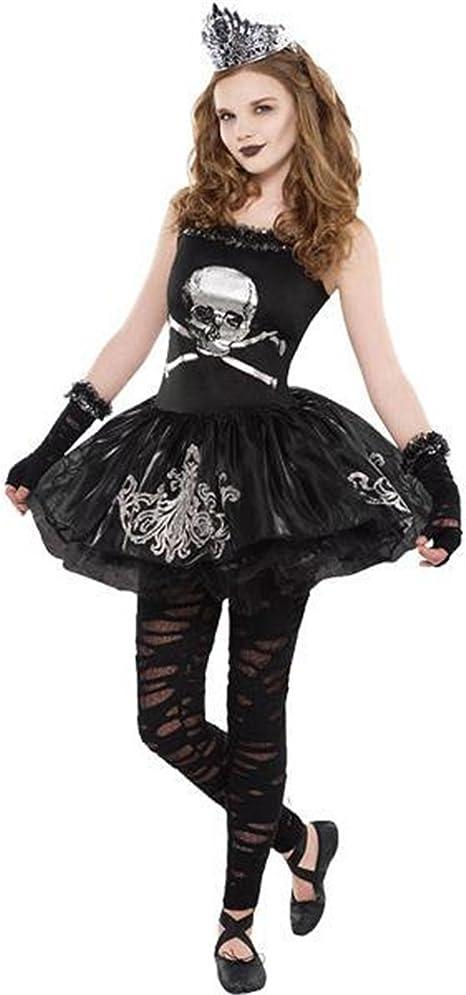 Filles Gothique Pirate Crâne et os croisés Fancy Dress Costume