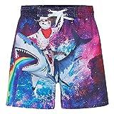 UNICOMIDEA Bathing Suit for Boys Shark Swim Shorts Rainbow Cat...