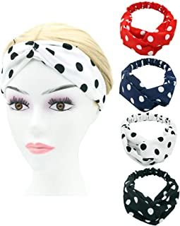 Classic Polka Dot Headbands for Women, Red Dot Fabric Crisscross Hairbands, Fashion Wide Headband for Girls, 4Pcs of Pack (Red Blue White Black)