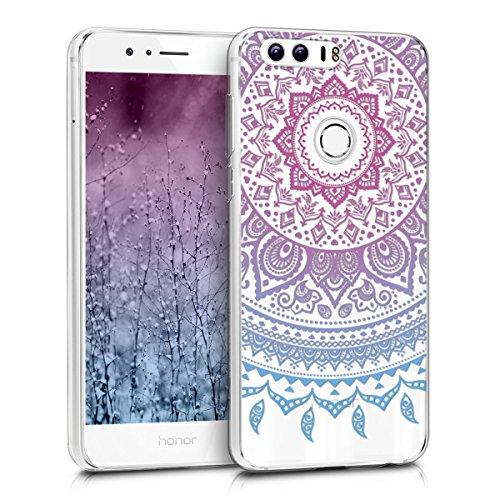 kwmobile Hülle kompatibel mit Huawei Honor 8 / Honor 8 Premium - Handyhülle - Handy Case Indische Sonne Blau Pink Transparent