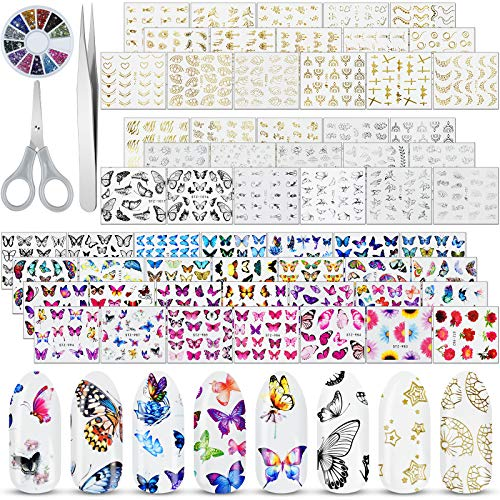 EAONE 60 Sheets Nail Stickers Self-Adhesive Nail Art Stickers Water Transfer Butterfly Nail Tattoos Flowers and Leaf Nail Art Foils with Nail Gems Tweezers and Scissors for Women Girls DIY Nail Art