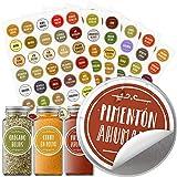 Vinta 210 etiquetas adhesivas en español para tarros y frascos de especias; preimpreso; codificado por colores; impermeable y resistente al aceite; 38mm; incluye etiquetas adicionales personalizables