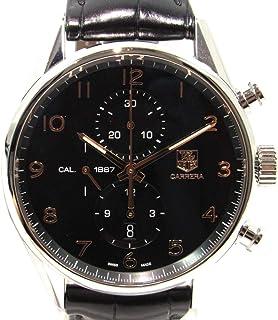 [タグ・ホイヤー] TAG HEUER カレラ1887クロノグラフ43mm 腕時計 ウォッチ ブラック×シルバー ステンレススチール(SS)×レザーベルト CAR2014.FC6235 [中古]