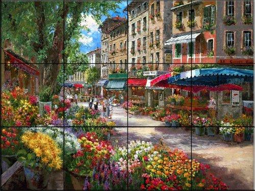 Carreaux de céramique murale - Paris Marché aux Fleurs - par Sam Park/Soho Editions - carreaux/tuiles de salle de cuisine