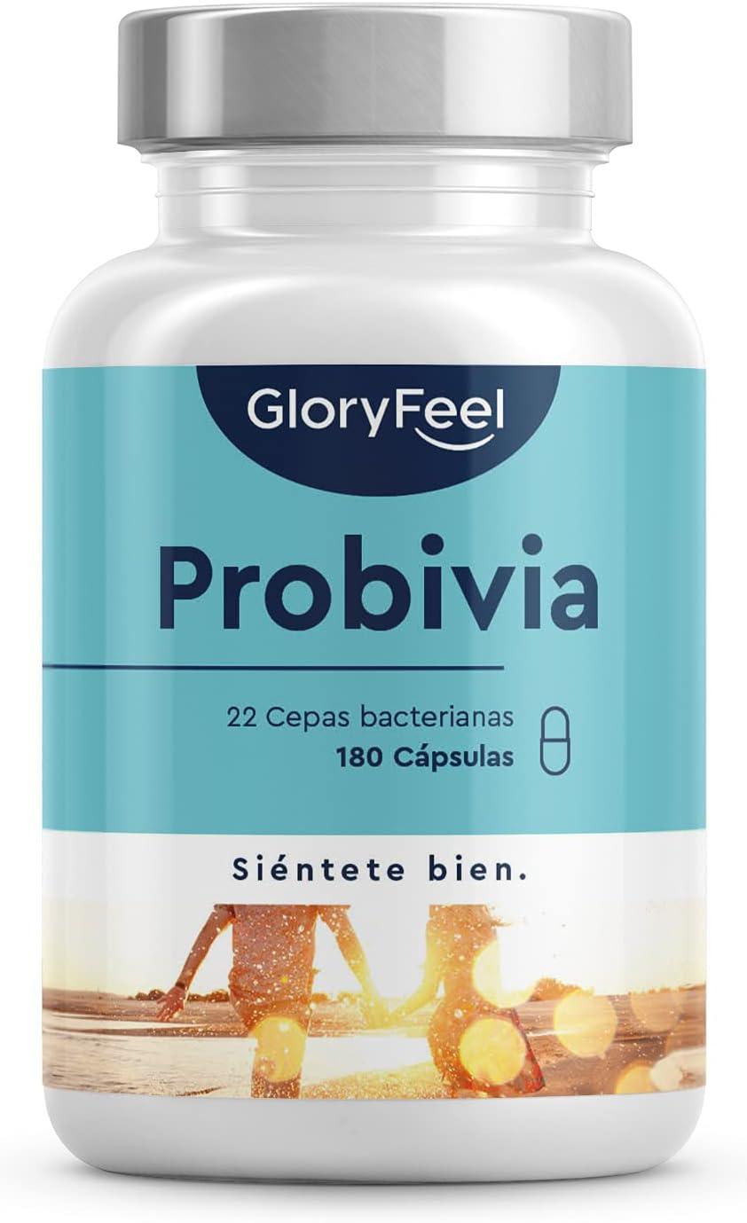 Probióticos y prebióticos intestinales - 180 cápsulas con revestimiento entérico - 22 cepas bacterianas (Lactobacillus, Bifidobacterium) + Inulina, 10 mil millones de UFC para la flora intestinal