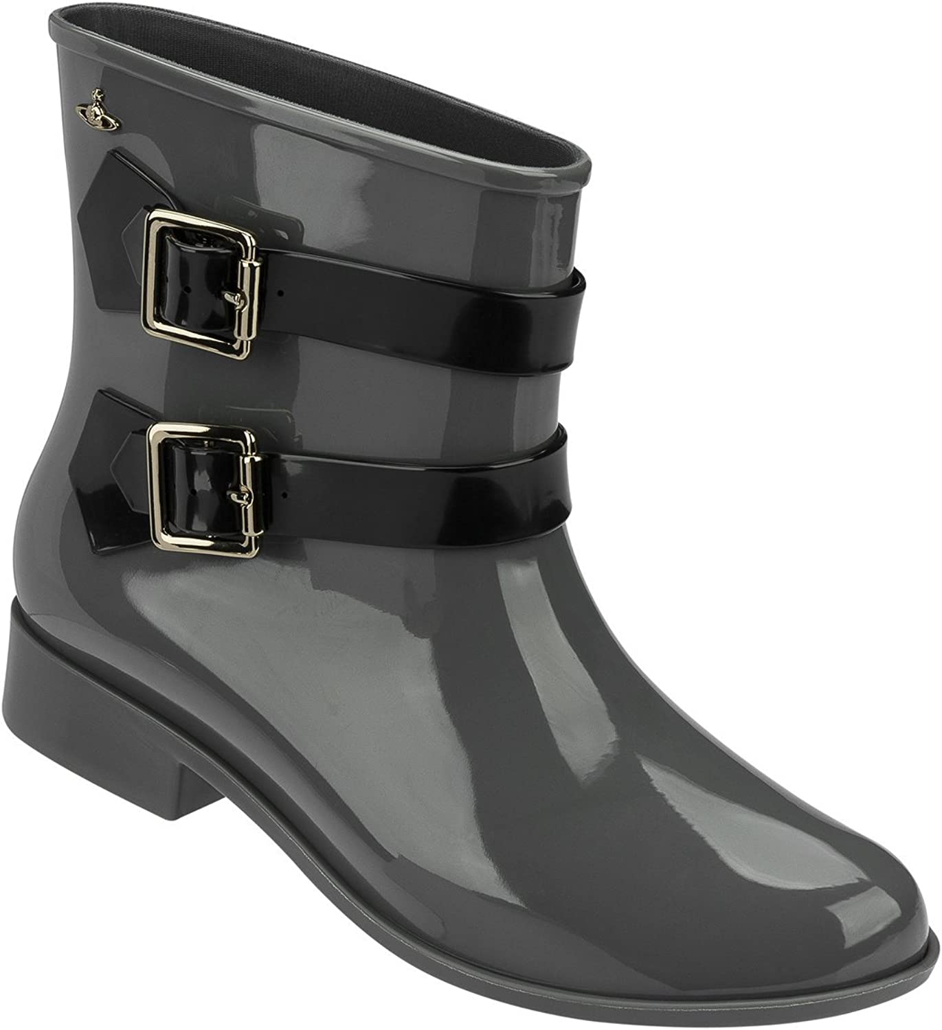Melissa Vivienne Westwood Anglomania Moon DUST Boot Grey Black Women's