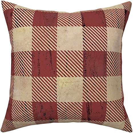 Roostery Throw Pillow Rustic Plaid Red And Tan Checked Earthy Buffalo Mountain Lumberjack Print Linen Cotton Canvas Knife Edge Accent Pillow 18in X 18in With Insert Home Kitchen