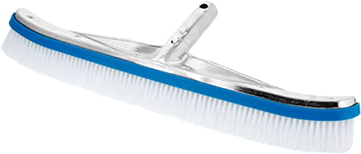 """U.S. Pool Supply Professional 18"""" Aluminum Wall & Floor Pool Brush with Nylon Bristles and EZ Clip Handle - Reinforced Curved Ends, Durable Nylon Bristles - Easily Sweep Algae from Walls, Floor, Steps"""