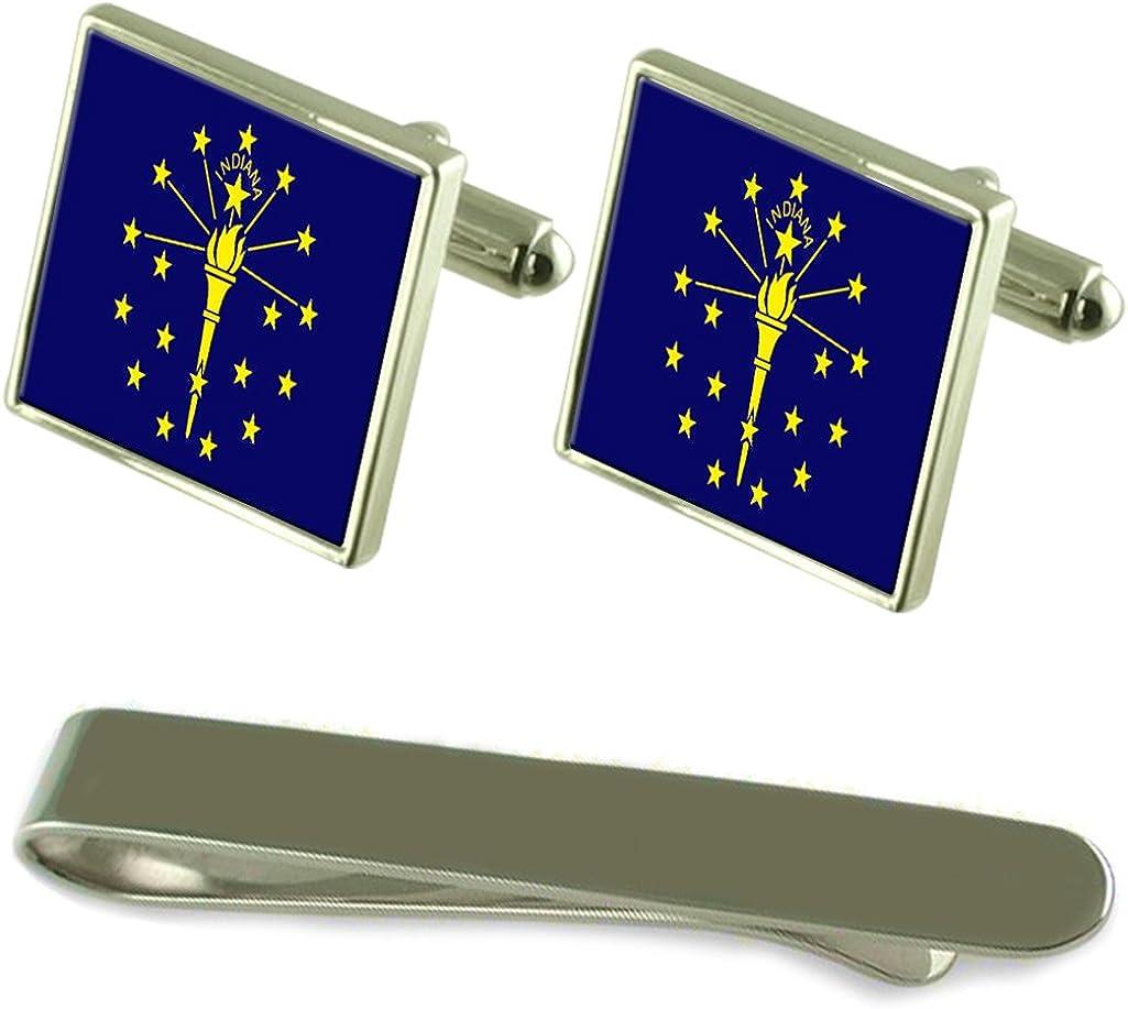 Denver Mall Indiana Flag Silver Cufflinks Tie Super sale Engraved Gift Clip Set