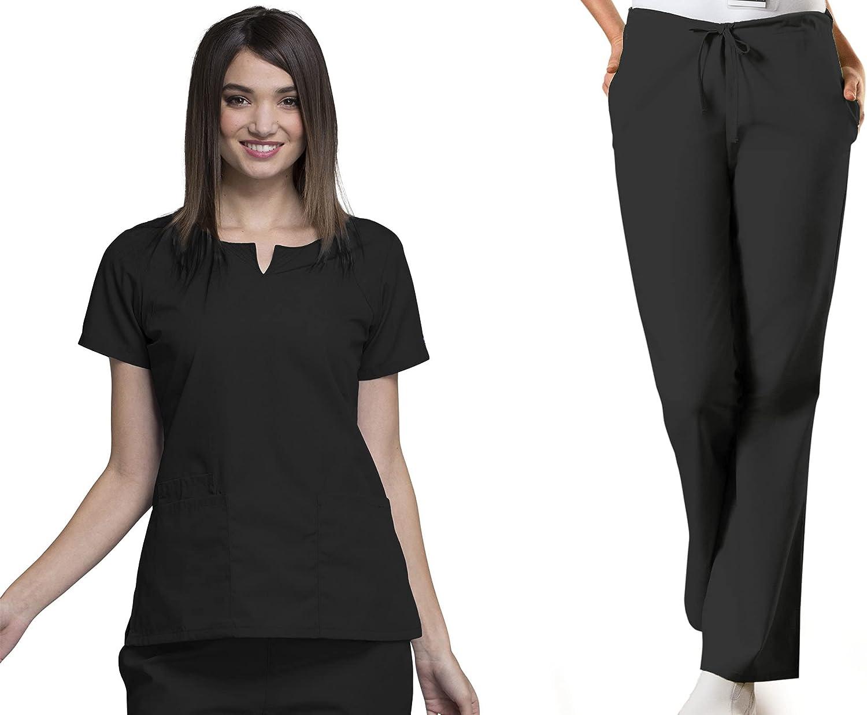Workwear Women Scrubs Set Round Detroit Mall 4824 Pant Neck Top Drawstring Max 47% OFF