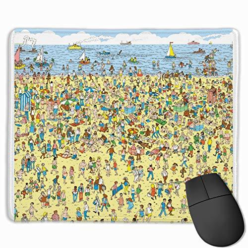 Where'S Waldo On The Beach Tappetino per mouse rettangolare in gomma antiscivolo per ufficio, decorazione da scrivania per computer e computer portatili