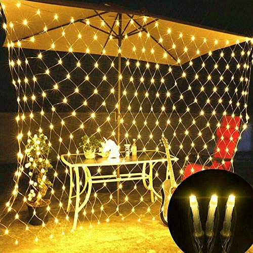 Dyna-Living 200er Lichtervorhang LED Lichterkette Lichtnetz Weihnachten Lichtervorhang Wasserdicht Licht Innen Außern Dekoration LED Light Net 2 * 3 31V für Weihnachten Party Hochzeit (Warm-Weiß)