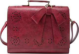 ECOSUSI Ladies Vegan Leather Laptop Bag for School Briefcase Crossbody Messenger Bags Satchel Purse Fit 14 inches Laptop, Red