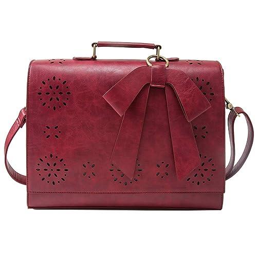 ECOSUSI Ladies PU Leather Laptop Bag Briefcase Crossbody Messenger Bags  Satchel Purse Fit 14